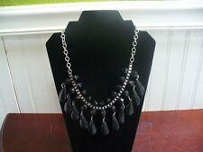 "Vintage Silvertone Metal Faceted Black Plastic Bead 22"" Dangle Bib Necklace"