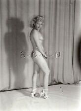 Original Vintage 1940s-60s Nude RP- Endowed Mature Blond- Shows Legs & Heels