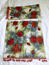 Vintage Small CURTAIN SET Red Roses Floral w/ Pom Poms 36 X 18 50s Retro