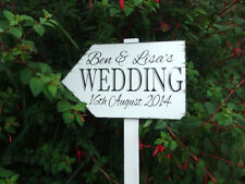 Wedding Sign on Post with Stand. Wedding Direction Pointer Plaque / Sign