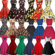 Womens 50's Rockabilly Swing Skater Dress Vintage Pin Up Christmas Party Dresses