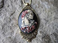 HAND PAINTED FOREVER LOVE SKELETON CAMEO ANTIQUED GOLD TONE NECKLACE - SKULL