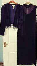 Joseph Ribkoff Luxury Purple Velvet 2pc long Dress & Jacket UK 18 NEW new year