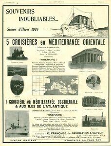 Publicité ancienne croisières en méditerranée orientale 1925 issue de magazine
