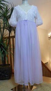 Vtg 60's Lavender Berkliff Sheer Chiffon & Lace Peignoir Gown & Robe Size Large