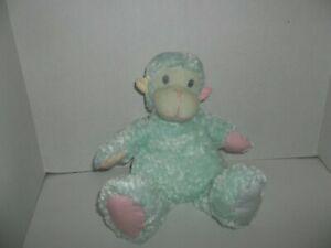 "first & main pastel baby zoo green monkey ape plush 12"" tall"