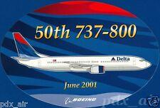 50TH 737-800 DELTA JUNE 2001 BOEING LOGO OVAL STICKER