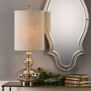 """FORMOSO XXL 32"""" LIGHT AMBER GLASS ACCENT TABLE LAMP AGED BRASS METAL UTTERMOST"""