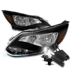 FOR 12-14 FORD FOCUS CRYSTAL STYLE HEADLIGHTS HEADLAMPS BLACK AMBER W/50W 6K HID
