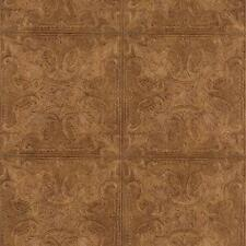 Embossed Textured Copper Faux Ceiling Tile Heavy Duty Wallpaper PA131206