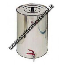 Serbatoio-Botte in acciaio inox con coperchio e rubinetto cromato da lt. 75