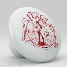 Italian Stamp Chop Design Ceramic Knobs Pulls Kitchen Drawer Cabinet Vanity  496