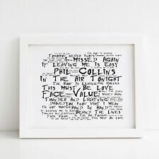 Phil Collins Poster, Face Value, Framed Original Art, Album Print Lyrics Gift