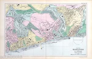 HASTINGS & ST LEONARDS - Original Antique Map / City Plan - BACON, 1912