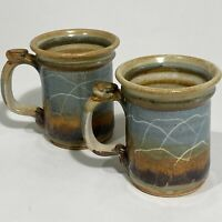 Vintage Mark of the Potter USA Brown Glazed Pottery Coffee Mug Cup Stoneware X2