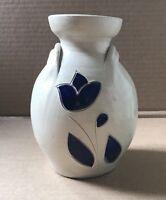WILLIAMSBURG POTTERY Stoneware Salt Glaze Cobalt Blue Vase Hand Crafted