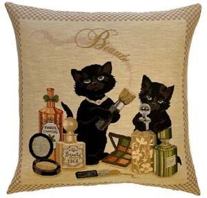Gobelin Kissen Katzen Schönheiten Dekokissen Parfum Make up Kätzchen Sofa