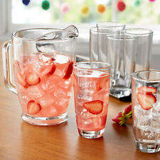 GLASS PITCHER - Mainstays 7-Piece Clear Glass Pitcher and Drinkware Tumbler Set