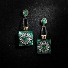Ohrringe Clips Anhänger Art Déco Quadrat Schwarz Grün Smaragd Retro J8A7