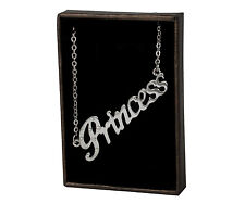 Name Necklace PRINCESS - 18ct White Gold Plated - Birthday Appreciation Identity