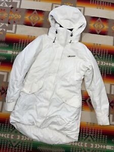 Womens Helly Hansen Ski Snow Parka Jacket with with Hood Size M White Warmcore