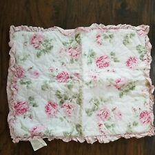 Simply Shabby Chic Quilted Pink Rose White Ruffle Pillow Sham Standard Size