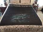Vtg. Dolphin Painted On Cotton Tapestry Wall Hanging 62 X 55 1/2 Signed  Joni 97