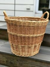 Large Handmade In Poland Wicker Basket two tone beautiful craftsmanship