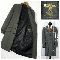 "⭐ HARRIS TWEED Centenary Lable Herringbone long overcoat coat jacket UK L 40-42"""