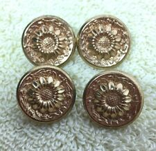 Lot of 4 Gold Tone Metal Sunflower Picture Buttons 3/4  C2