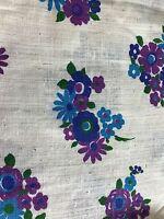 Vintage Fabric Crantex  Purple Blue Flowers Cream Fabric 2.25 Yards