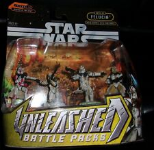 2005  STAR WARS. UNLEASHED BATTLE PACKS.CLONE COMMANDER BLY & 3 CLONE TROOPERS