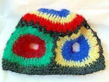 Vintage Women's Colorful Wool / Mohair Blend Crochet Knit Beanie Cap