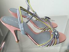 VIGA SPIGA Vintage Pin up Pink Leather Heels Slingback Size 38 Made in Italy