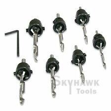 7 PC Tampered and Hardened Countersink Drill Bit Set Woodworking Tools