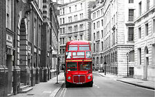 STUNNING LONDON BUS CITYSCAPE #299 FRAMED CANVAS PICTURE A1 SIZE WALL ART