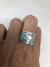 Vintage Southwestern Eagle Turquoise Inlay Ring Size 7.5