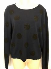 Alice And Olivia Sweater Navy Wool Black Beaded Design L/S Size L