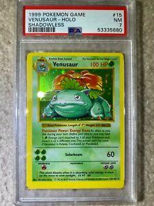 1999 Pokemon Base Set Venusaur Holo Shadowless PSA 7