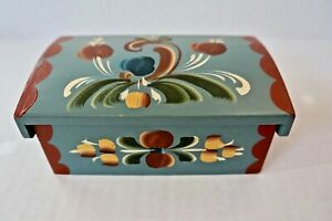 Vintage Norwegian Trunk Rosemaling painted Small Dome Top Pine Norway Blue