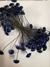 BULK BUY 50 x PAIRS  13/14mm BLUE GLASS TEDDY EYES ON WIRES