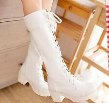 Womens Round Toe Lace Up Cosplay Knee High Boots Block Chunky Heels Casual Shoes