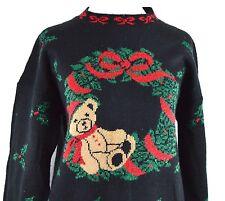 Teddy Bear Medium Pretty Ugly Xmas Sweater Metallic Knit Black Acrylic Wreath