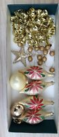 Lot of White and Gold Christmas Tree Baubles some Vintage Retro