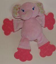 Bright Starts Pink Elephant Teether Plush Baby Rattle Teething Toy