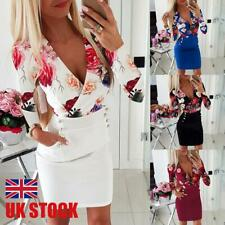 Womens Sexy Floral Bodycon Mini Dress Ladies Long Sleeve Evening Party Dresses