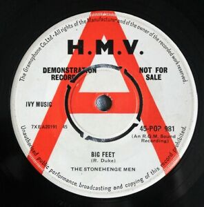 "THE STONEHENGE MEN Big Feet / Pinto 7"" DEMO Joe Meek RGM HMV 45-POP 981 G+ 1962"