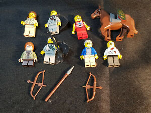 7 Assorted LEGO Minifigures including Harry Potter and Draco Malfoy and horse