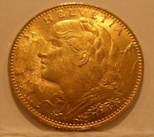 Switzerland 1922B Gold 10 Francs UNC