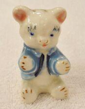 Vintage White Teddy Bear Sitting Blue Shirt Jacket Salt or Pepper Shaker Japan